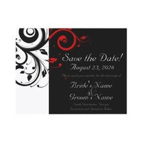 Black, White, Red Swirl Wedding Save the Date Invites from Zazzle.com