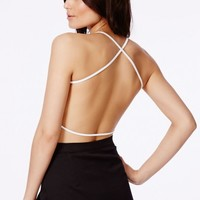 Missguided - Eveny White Cross Back Crop Top