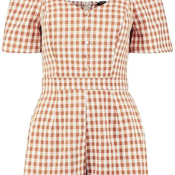 Checked Button Front Sweetheart Neck Playsuit | Boohoo