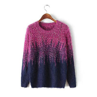 Women's Contrasting Color Round Collar Long Sleeves Mohair Sweater