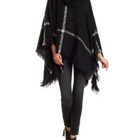 Black/Ivory Fuzzy Plaid Turtleneck Poncho Sweater by Charlotte Russe