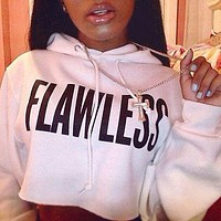 2017 spring autumn winter women pullovers flawless letter printed hoodies ladies pink black sweatshirt Crop Hoodie Sweatshirt
