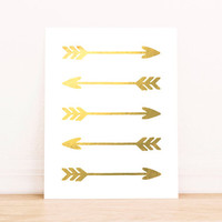 Gold arrow print tribal print with real gold foil arrow print real gold tribal wall art bedroom decor art great in tribal themed home