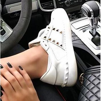 Valentino Hot Sale Women Casual Leather Rivet Sport Shoes Sneakers