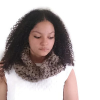 Crochet cowl scarf in brown, Crochet circle scarf with textured detail - The simply cowl