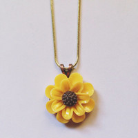 Handmade Sunflower Pendant Necklace with Gold Chain
