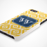 iPhone 5 Cell Phone Case Custom Color Ikat Damask Initial Monogram Apple Sorority Personalized Protective White Plastic Hard Cover VM-1059