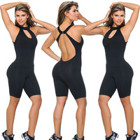 Black Keyhole Racer-back Workout Jumpsuit