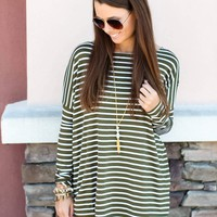 PIKO Stripe Top - Olive + White