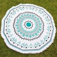 aztlan round beach towel by oh lay