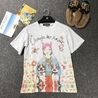 """Gucci Unskilled Worker"" Women Casual Fashion Cartoon  Dog Portrait Print Loose Short Sleeve Cotton T-shirt Tops"