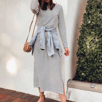 Women's pullover striped long sleeve split dress