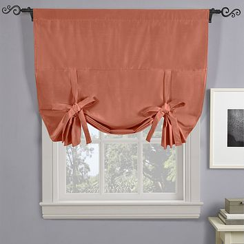 """CORAL Soho Triple-Pass Thermal Insulated Blackout Curtain Rod Pocket - Tie Up Shade for Small Window ( 42"""" W X 63"""" L)"""