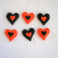 Halloween hearts decoration - black and orange felt gift tags - spooky home decor