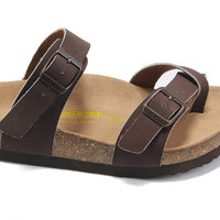 2017 New STYLE Birkenstock Summer Fashion Leather Cork Flats Beach Lovers Slippers Casual Sandals For Women Men Couples Slippers size 36-45 mac592