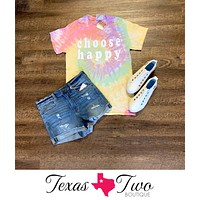 Choose Happy Tie Dye Graphic Tee (S-2XL)