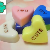 Conversation Heart soap bars - Set of 1, 3 or 6 - Valentine's Day soap, Shea Butter soap, Handmade soap, Valentines