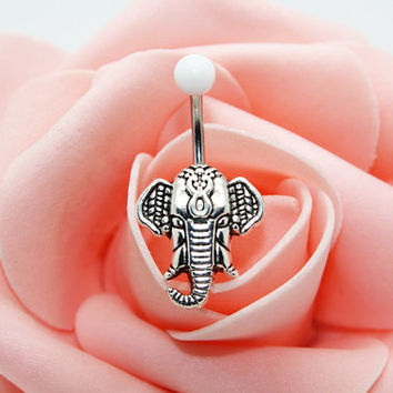 Belly button ring,Elephant navel ring,Elephant belly button jewelry,,Body piercing,Friendship belly ring
