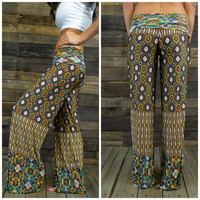 Canyon Vibrations Green Tribal Palazzo Pants