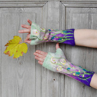 Hand felted mittens, long fingerless gloves, arm warmers,  decorated with silk flowers, glass beads and silk fibers . OOAK