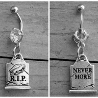 Silver Raven Belly Button Ring Diamond Belly Ring Navel Piercing Edgar Allan Poe Gothic Body Jewelry Goth Crow Tombstone Gravestone RIP