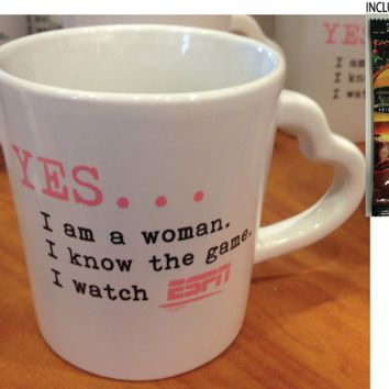 """Downtown Disney ESPN """"Yes...I am a Woman, I Know the Game, I Watch ESPN"""" Coffee Mug - Limited Availability + Single Pack Arabica Coffee Included"""