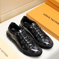 LV Louis Vuitton Men's Leather Low Top Sneakers Shoes
