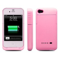 Colourful Ultra Slim i-Power 2000mAh External Power Pack Case and Rechargeable Back Up Battery Charger For iPhone 4 & 4S by BXT® (Pink):Amazon.co.uk:Electronics