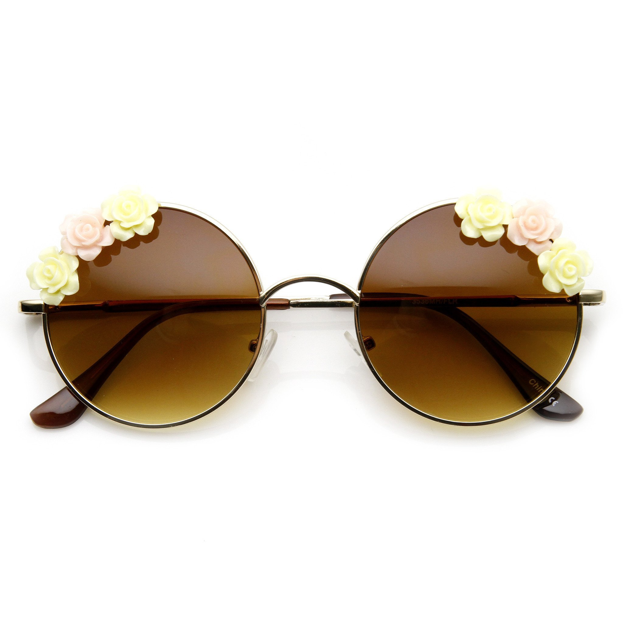 Image of Flower Adorned Womens Hippie Floral Metal Round Sunglasses 9317