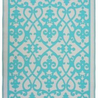 Fab Habitat Earth  Venice Cream And Turquoise Rug | Traditional Rugs