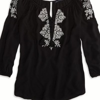 AEO 's Factory Embroidered Peasant Shirt