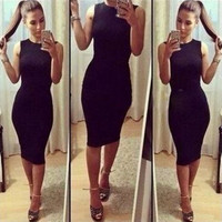 Pure Color Fashion Tight Dress