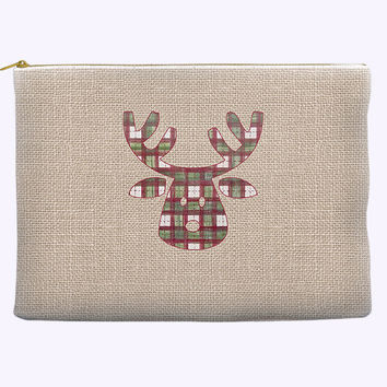 Christmas Cosmetic Bag - Rudolph the Reindeer in Holiday Plaid