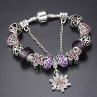 SPINNER Crystalized Snowflake Charm Bracelet for Women With Daisy Beads Pandora bracelets & bangles DIY Jewelry Gift