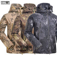 Men's Tactical Snake Camouflage Army Military Shark V4.5 Waterproof Soft Shell Outdoors Fleece Hunting Jacket