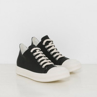 Rick Owens DRKSHDW Low Sneaks in Black Canvas | The Dreslyn