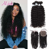 Alibele Malaysian Curly Hair Bundles With Closure Remy Hair Extensions Malaysian Deep Curly Human Hair Bundle With Lace Closure