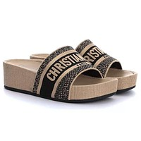 DIOR CD Woven Embroidered Letters Ladies Platform Slipper Sandals Shoes