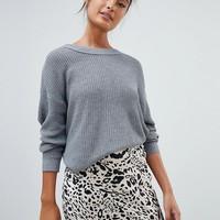 Pull&bear long sleeved jersey knitted jumper in grey at asos.com