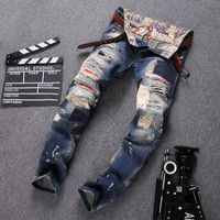 Plus Size High Quality Ripped Holes Pants Jeans [1563339128925]