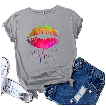 Casual Lip Print Graphic Tee