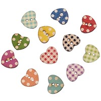 Hot 50PCs Wooden Buttons Mixed Color Heart Pattern Decorative Buttons 2 Holes Fit Sewing Scrapbooking Craft DIY 16x14mm