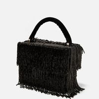 VELVET BAG WITH BEADED FRINGE