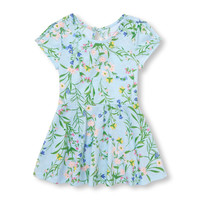 Toddler Girls Short Slit Sleeve Floral Print Knit Dress | The Children's Place