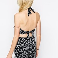 ASOS PETITE Co-ord Top With Halter Neck In Ditsy Floral With Floral Inserts