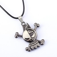 One Piece Silver Metal Skull Anime Necklace