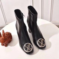 LV Louis Vuitton Women Fashion leather brown High Top Mid Boots with strings Shoes Winter Autumn best quality
