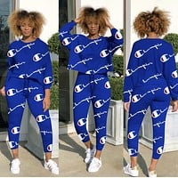 Champion Hot Sale Women Long Sleeve Round Collar Sweater Top Pants Two-Piece Blue