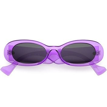 Neon Retro Rounded Thick Rimmed Vintage Oval Sunglasses D263