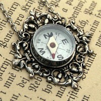 Travelers Compass Necklace by ragtrader on Etsy